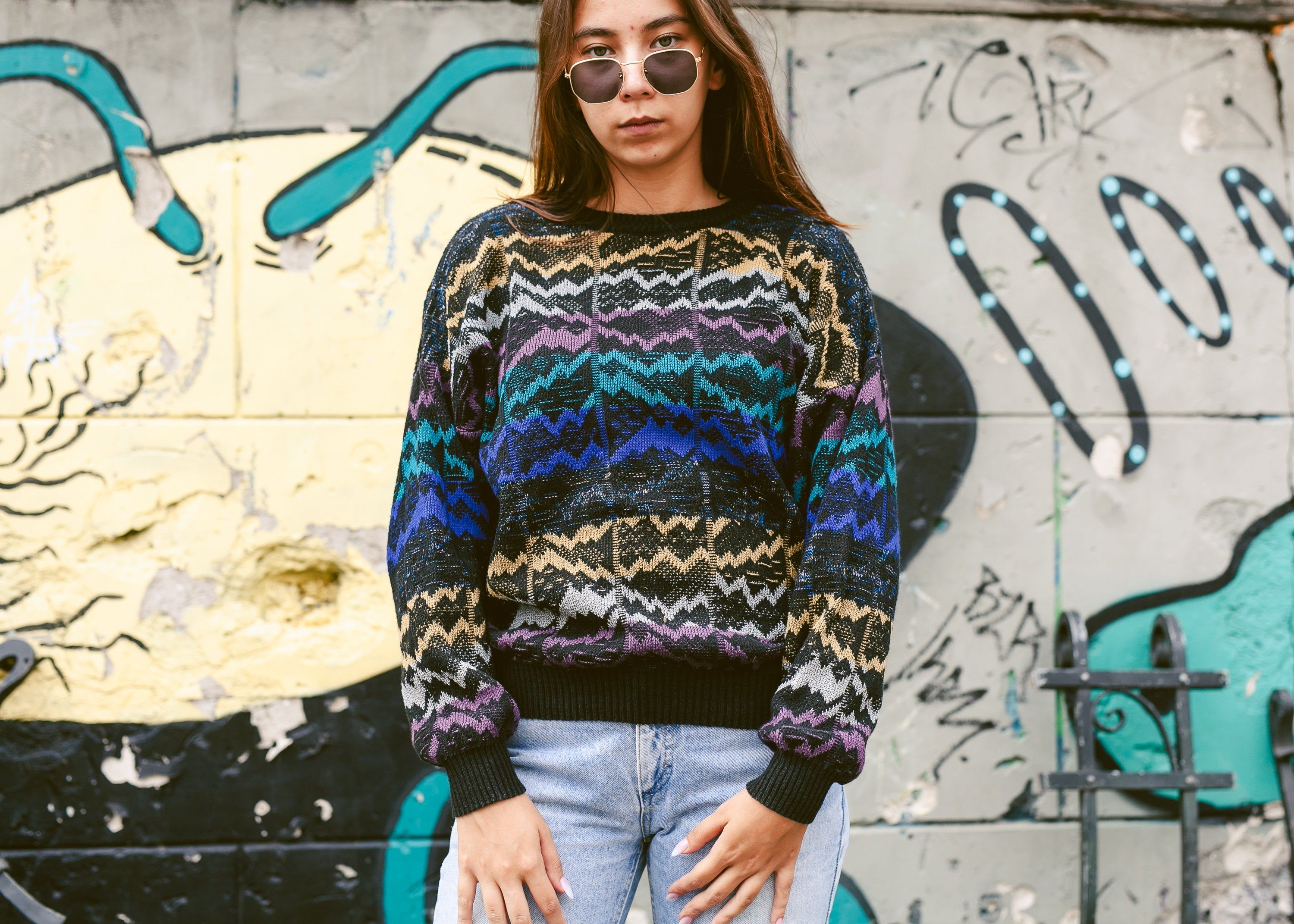 Oversized 1980s Sweater  80s clothing  80s Sweater  90s Sweater  90s Clothing  Large Sweater  Grunge Sweater  Blue Sweater