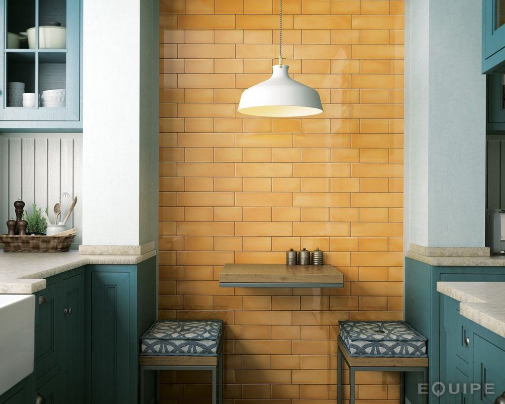 These Beautiful Brick Format Victorian Crackle Metro Tiles Brings Back The Rich Variation And Depth Of Traditio Mustard Walls Crackle Tile Yellow Kitchen Tiles