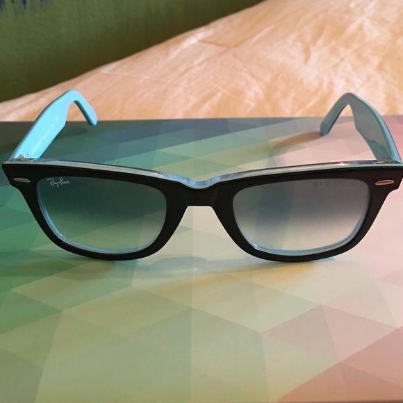 5dfa0e6599 ... italy ray ban wayfarer sunglasses black wayfarer ray bans with light  blue on the inside and