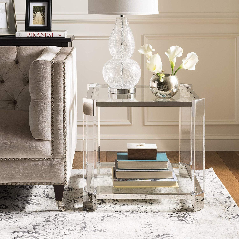 Safavieh SFV2528A Home Collection Gianna Glass End Table ...