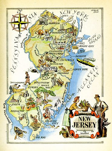 New jersey map jersey girl and park nj map by jacques liozu love his painterly style gumiabroncs Choice Image