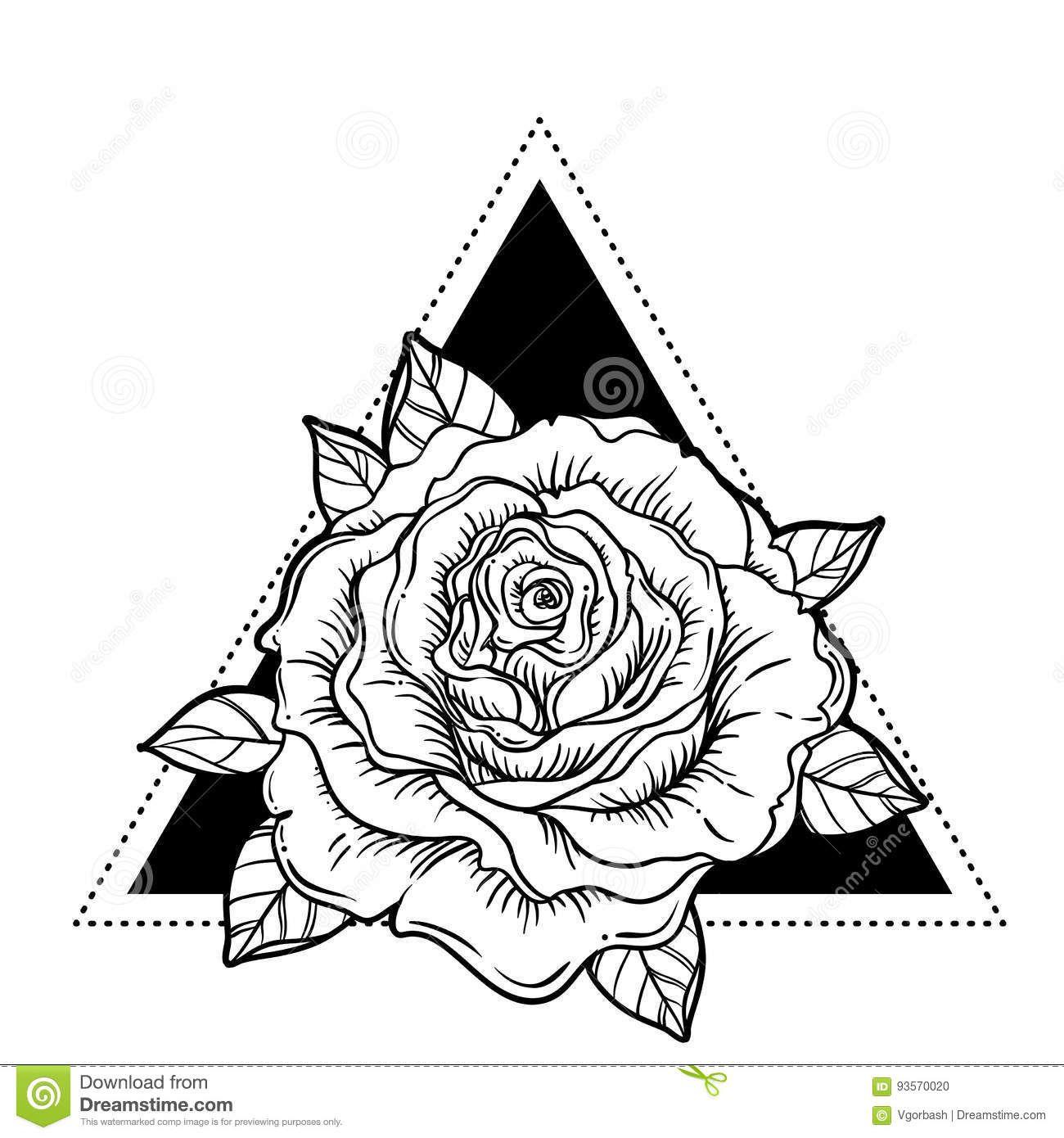 Rosicrucianism Symbol. Blackwork Tattoo Flash. All Seeing
