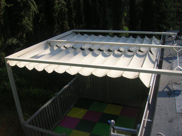 Top View Of Slide Wire Canopy Shade Structure Custom Frame/