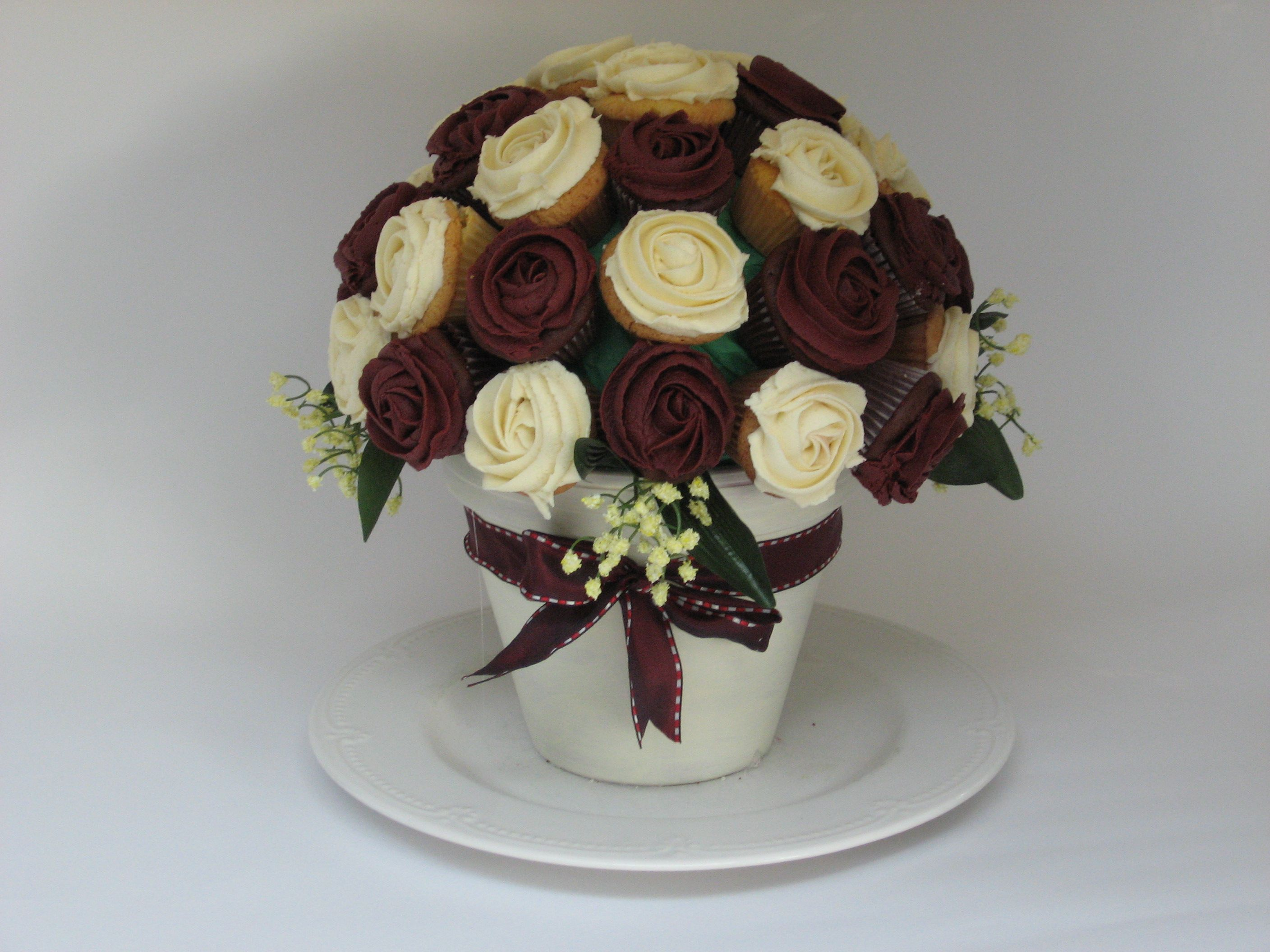Cupcake bouquet just put a styrofoam ball that fits in