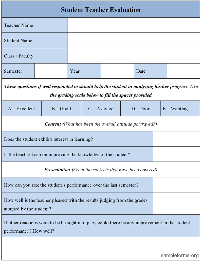 Student Teacher Evaluation Form Good Science – Sample Student Evaluation Forms