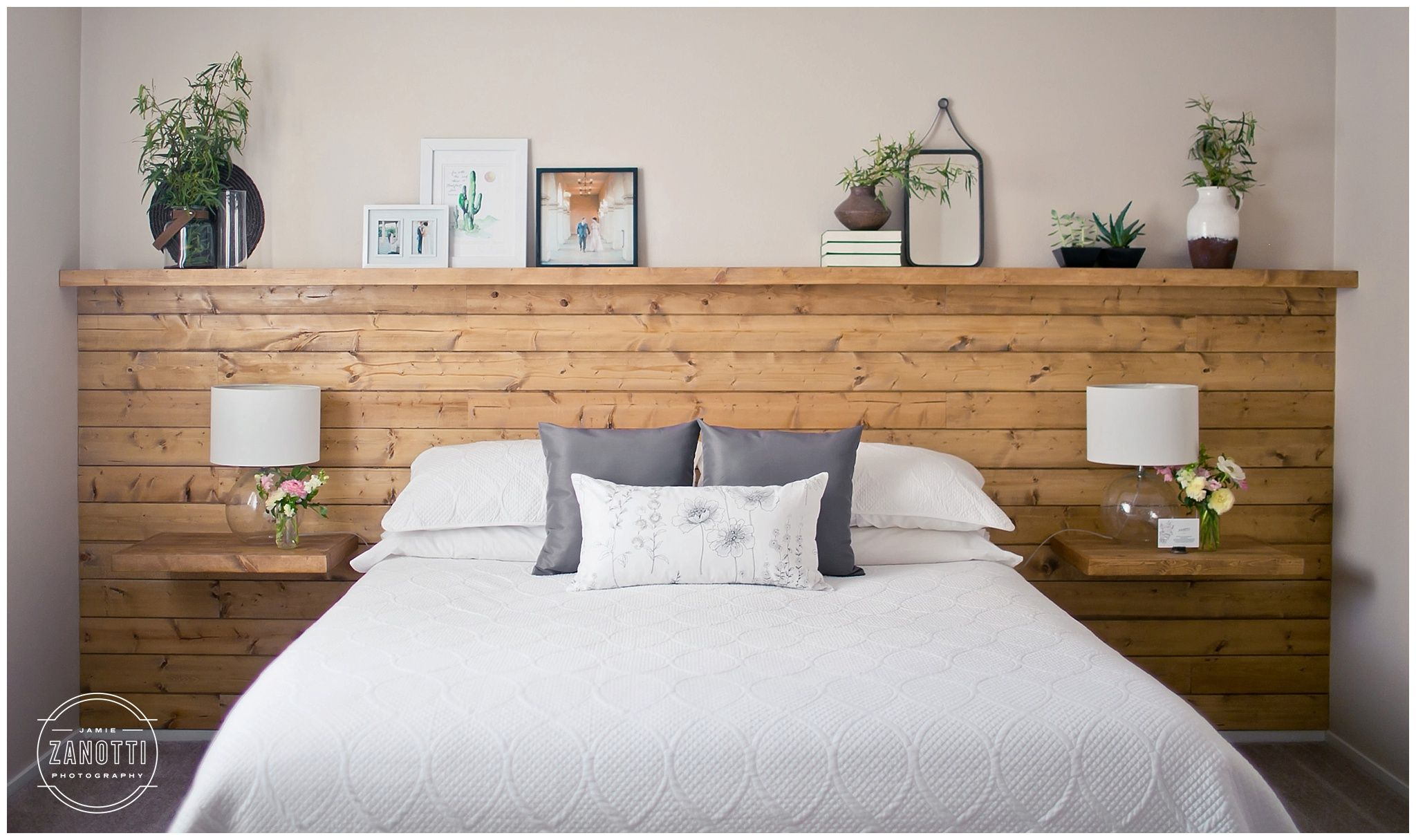 Natural Wood Diy Shiplap Headboard Wall Shelf Floating Nightstands