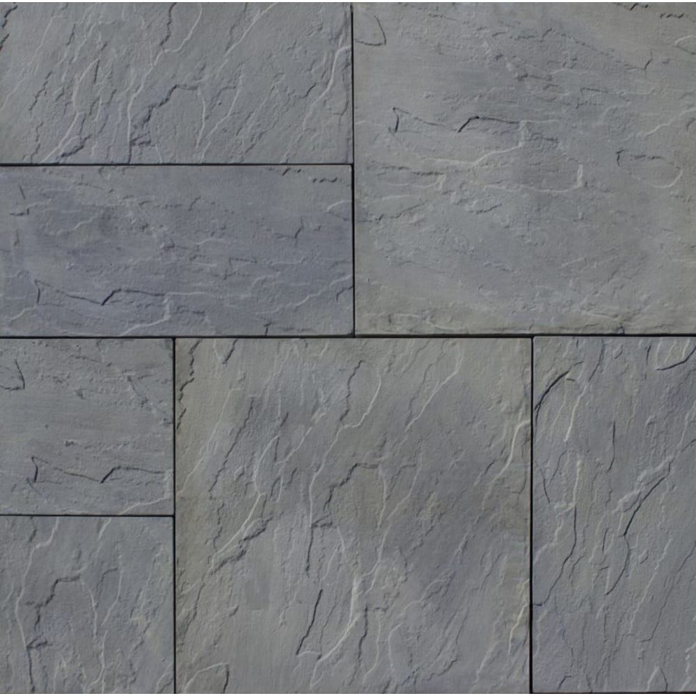 Evi Outdoor Patio Kit 10x10 Rivenstone Blue Variegated Sku 6008171 Home Outlet In 2020 Patio Pavers Design Paver Patio Patio Stones