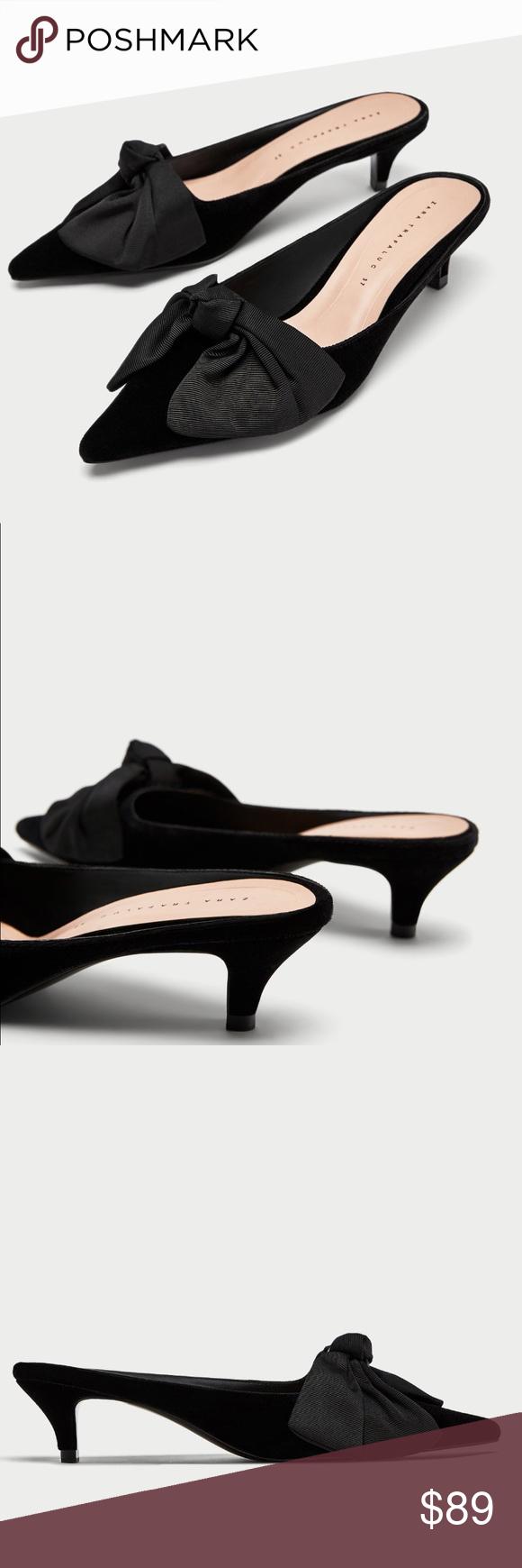 Zara Black Velvet Ribbon Kitten Heel Mule Slides Nwt Black Velvet Bow Zara Black Heels