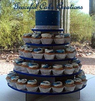 Elegant Royal Blue and Silver Cupcake Wedding Cake | Silver cupcakes ...