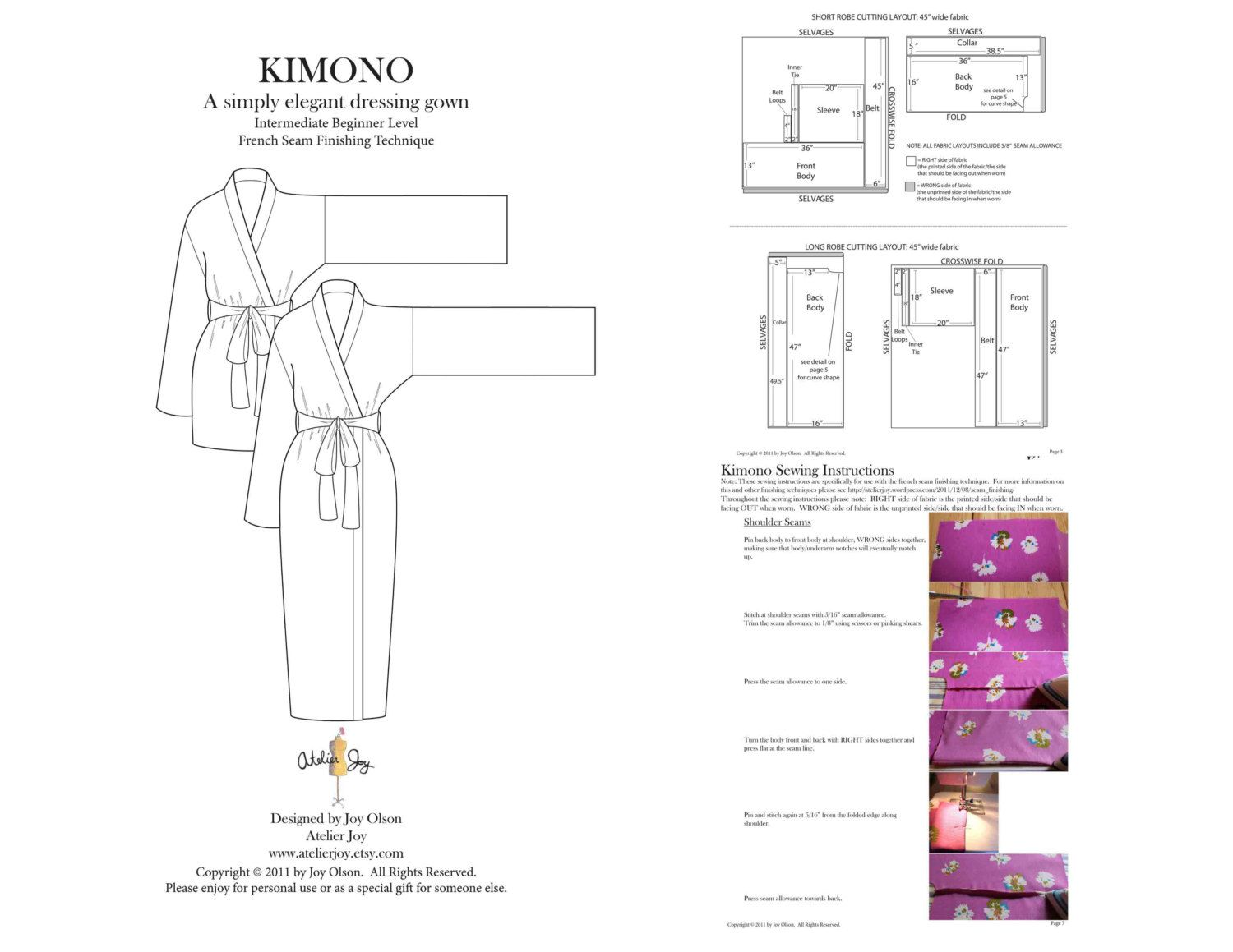 Kimono Robe Pattern - french seams finishing technique - PDF Pattern ...
