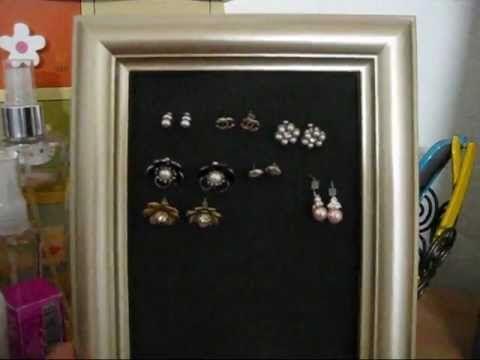 Diy picture frame earrings holder for stud earrings using craft diy picture frame earrings holder for stud earrings using craft foam sheet solutioingenieria Images