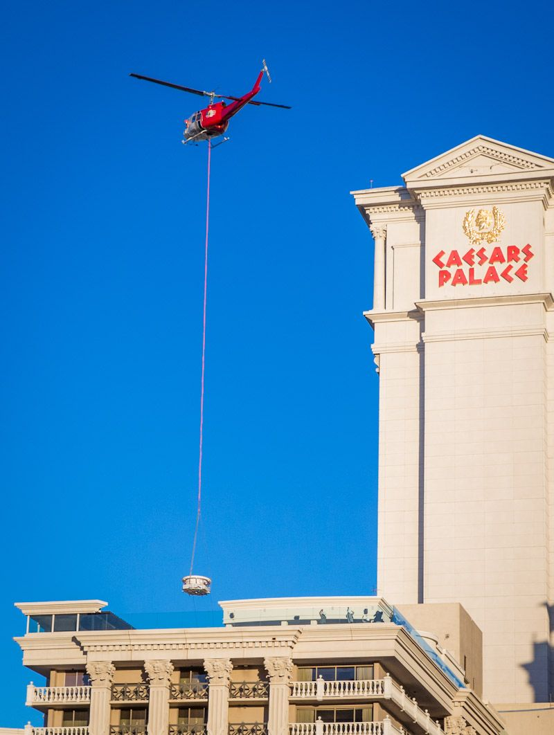 The dramatic Flying Hot Tub delivery marks the completion of actor Robert De Niro and Chef Nobu Matsuhisa's world's first Nobu Hotel at Caesars Palace Las Vegas.
