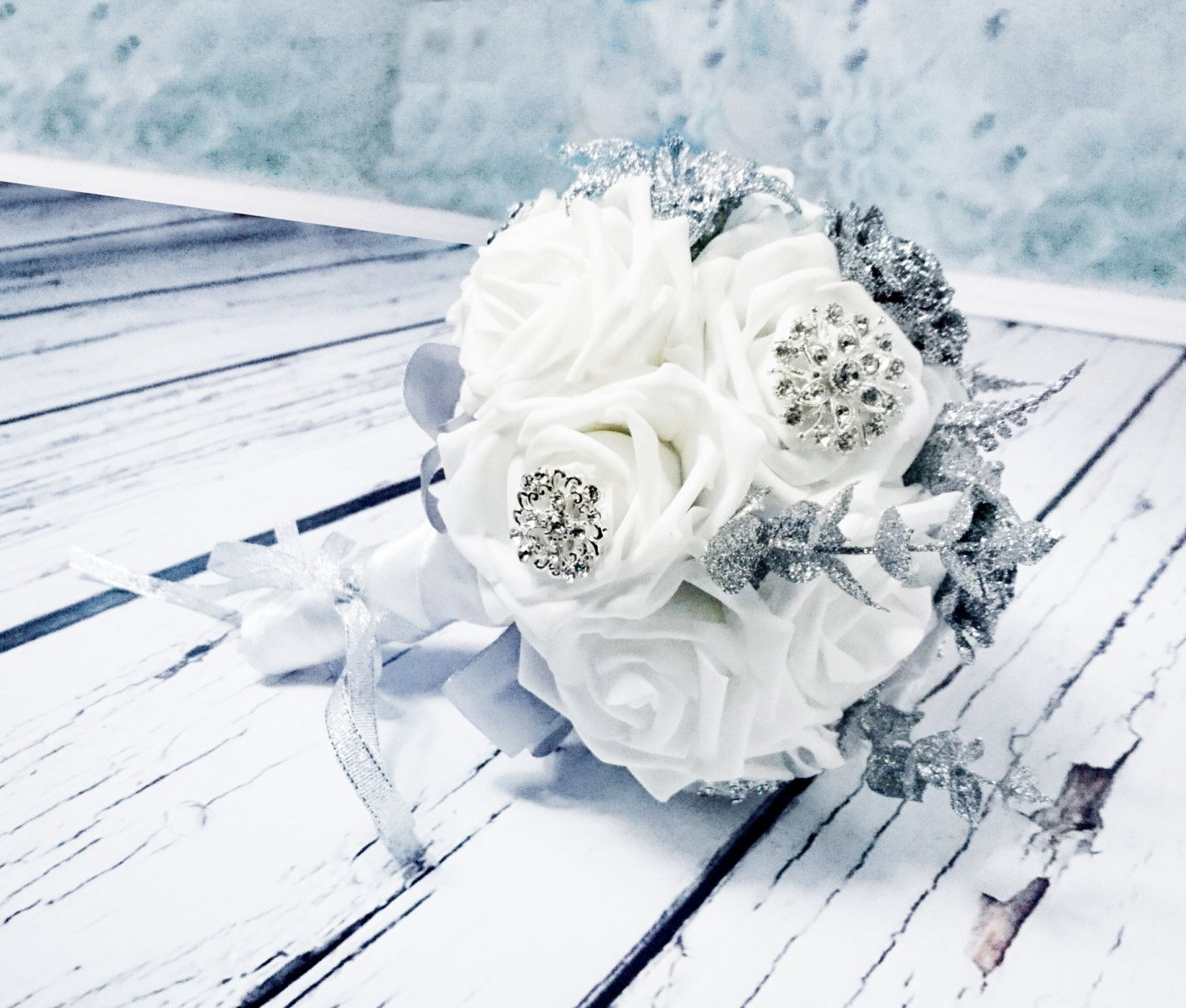 Ready to ship white foam roses sparkle glitter brooches silver white foam roses sparkle glitter brooches silver flowers wedding bouquet satin handle custom pinned by pin4etsy mightylinksfo