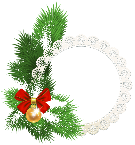 Large transparent white round christmas photo frame with