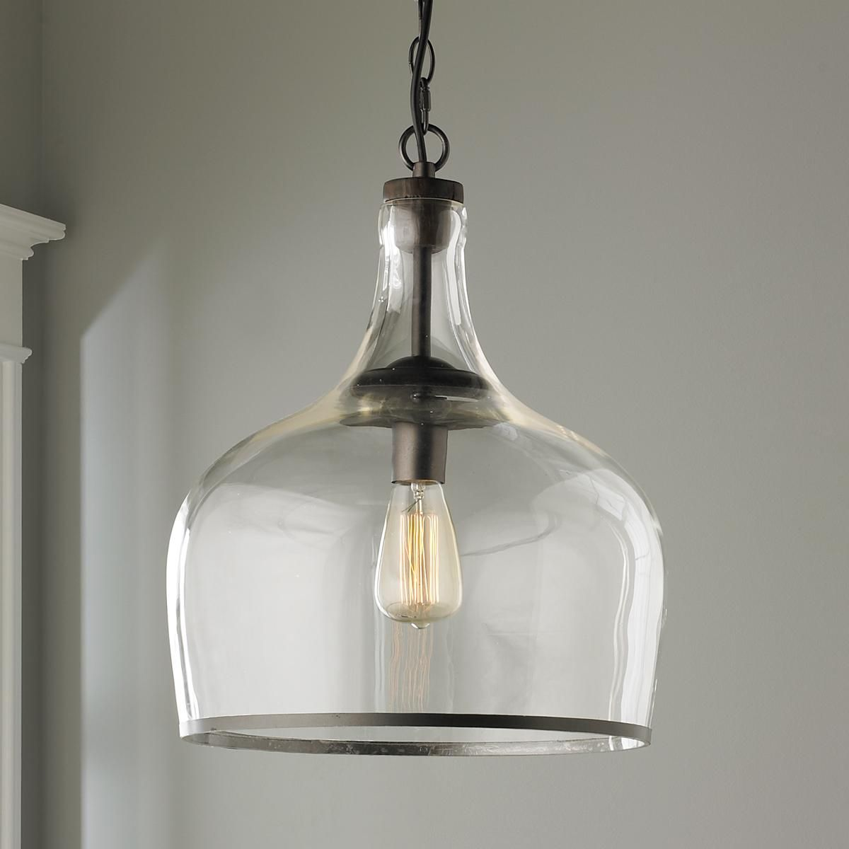 Reproduction Glass Cloche Pendant Glass Pendant Light Cottage
