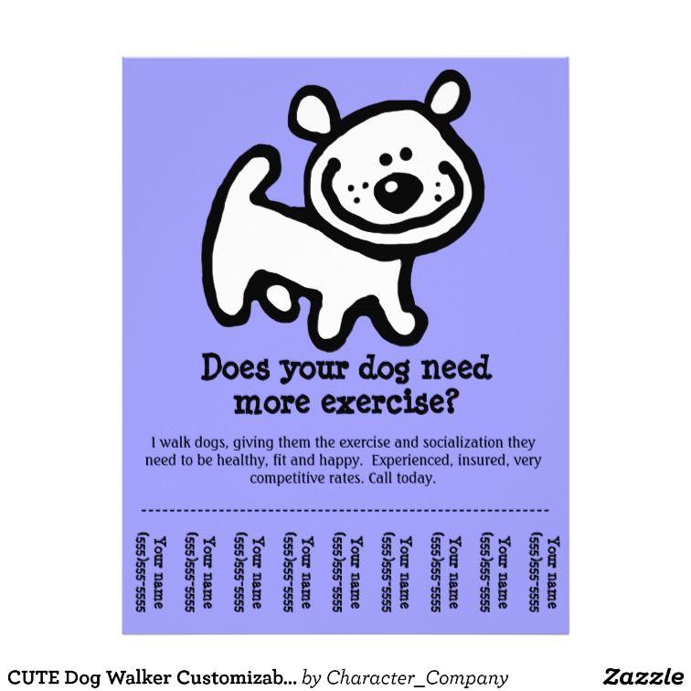 Cute Dog Walker Custom Promotion Tear Sheet Flyer By Character Company Dog Walking Flyer Dog Walker Flyer Dog Walker