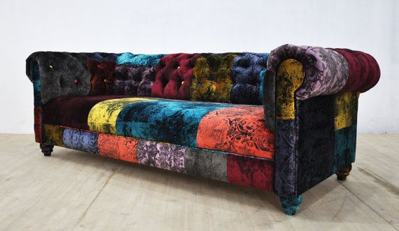 chesterfield patchwork sofa gothic velvet by. Black Bedroom Furniture Sets. Home Design Ideas