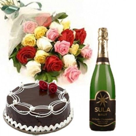 Flowers And Champagne Happy Birthday Flower Send Birthday Cake Best Valentine Gift