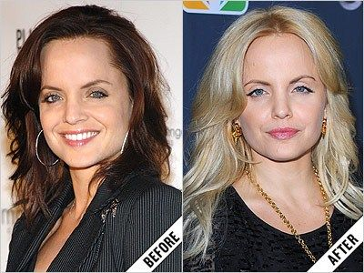 Mena Suvari's centre-parted blond layers fit a singer most some-more than her brunette hairstyle.