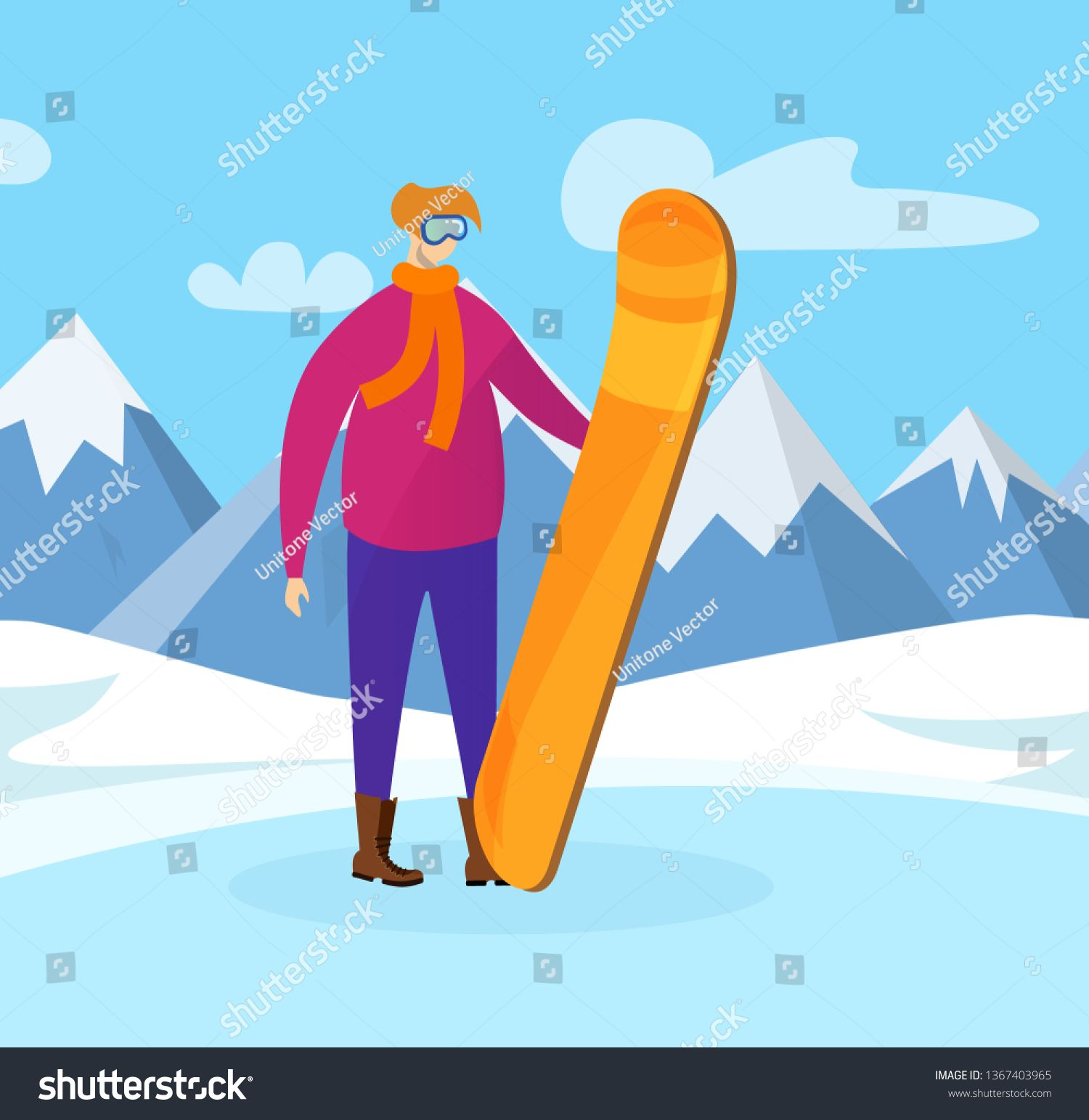 Young Sportsman with Snowboard in Hands Posing on Beautiful Mountain Landscape Background Winter Time Outdoor Activity Highland Resort for Extreme Sport Vacation Cartoon...
