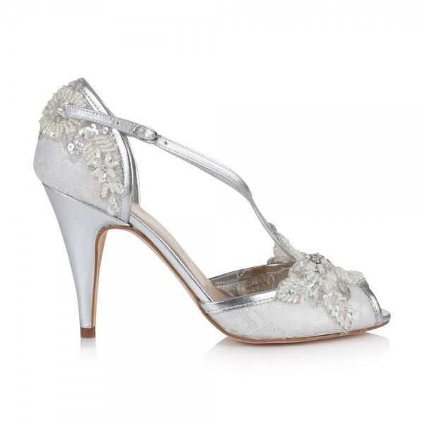 Rachel Simpson Charlotte Ivory Lace And Silver Leather Embellished T Bar Wedding Shoes