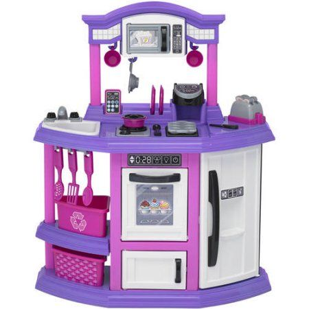 American Plastic Toys Play Baker S Play Kitchen With 22 Piece Accessory Play Set Walmart Com Comforters Cozy Play Kitchen Accessories Plastic Toys
