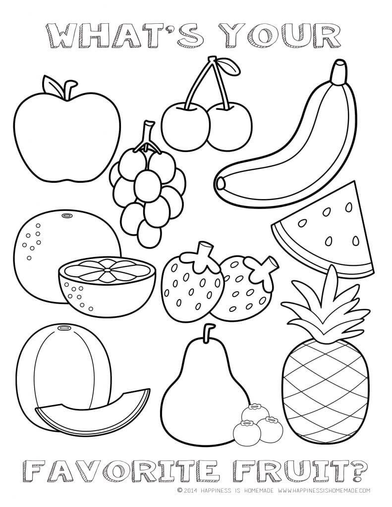 Printable Healthy Eating Chart Coloring Pages Fruit Coloring