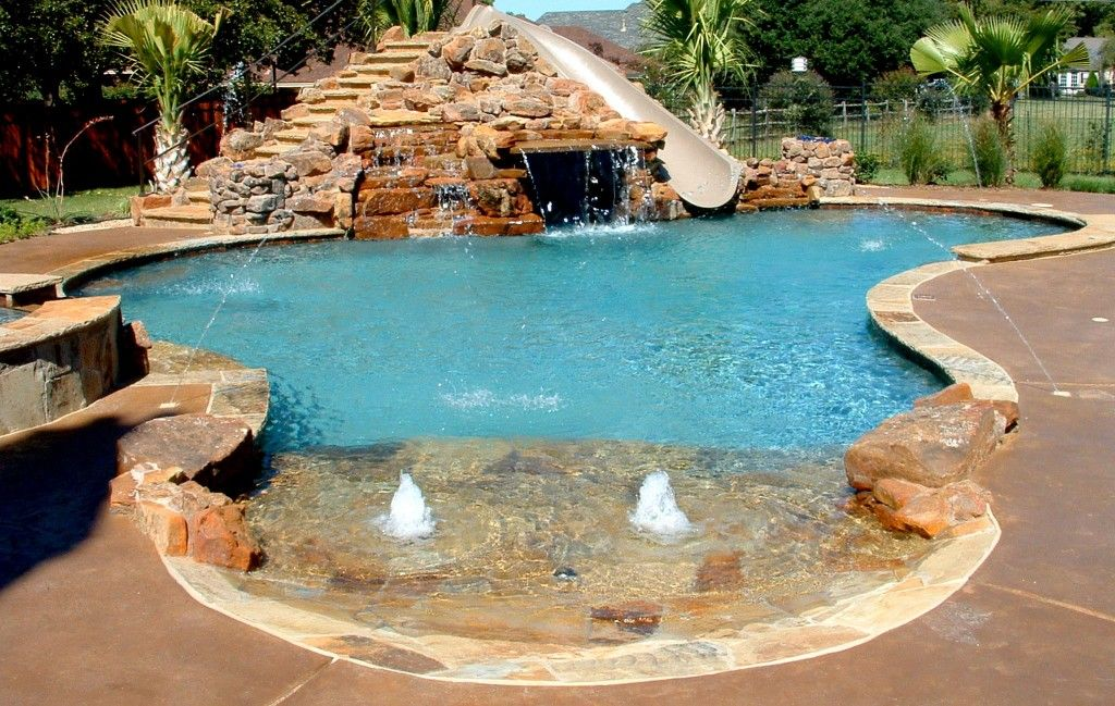 Inground Pools With Diving Board And Slide beach entry - i like the idea of multiple fountains at the entry