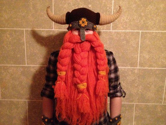 Crochet Viking & Warrior Beard/Hat Combo