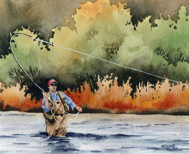 Fly Fishing Art Print Hooked Up Watercolor Painting
