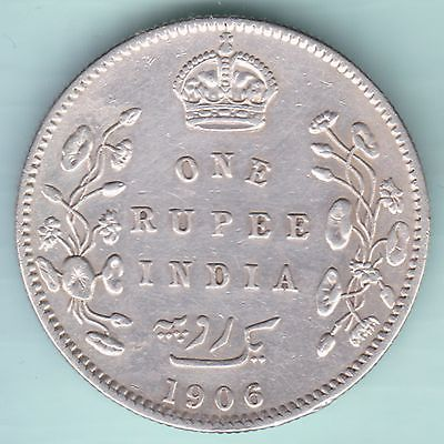 British India 1906 King Edward Vii One Rupee Rare Variety Silver Coin Rupees Silver Coins Coins