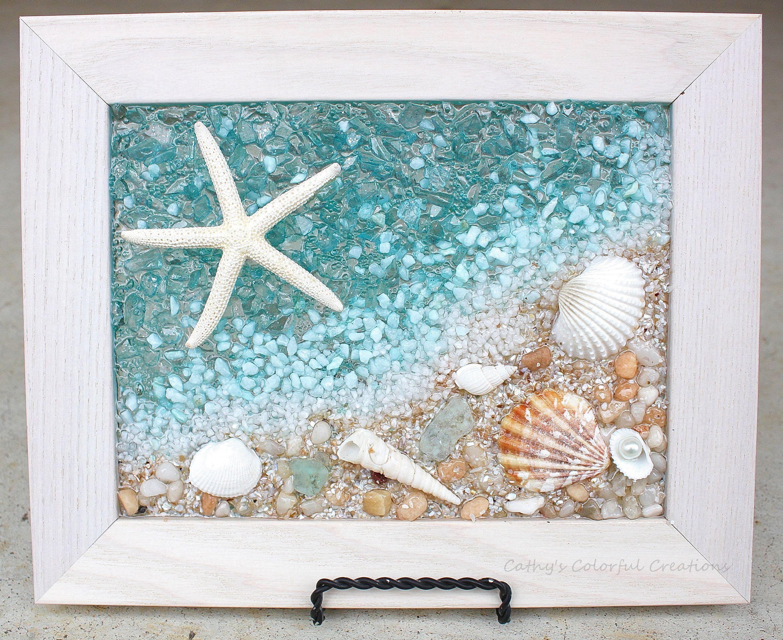 Beach Art Shell Art Beach Window Shell Window Beach Glass Art