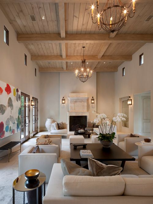Cozy Living Room In Mediterranean Style In Neutral Colors And Travertine  Tiles #travertine #floor