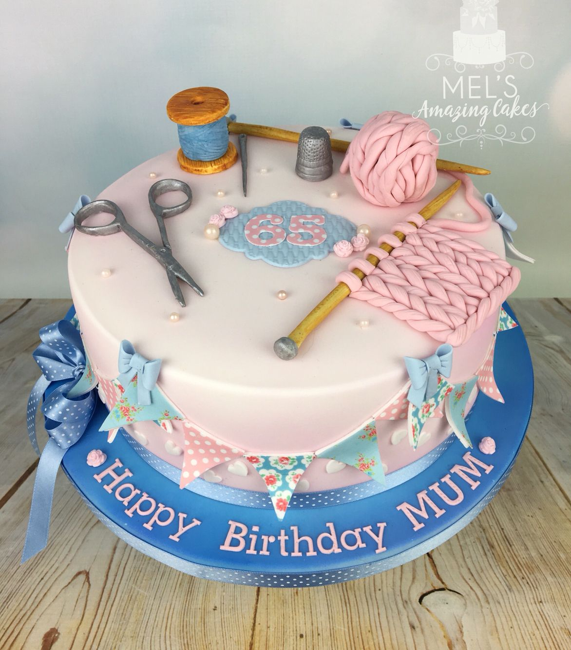 Kath Kidston Inspired Sewing And Knitting Themed 65th Birthday Cake