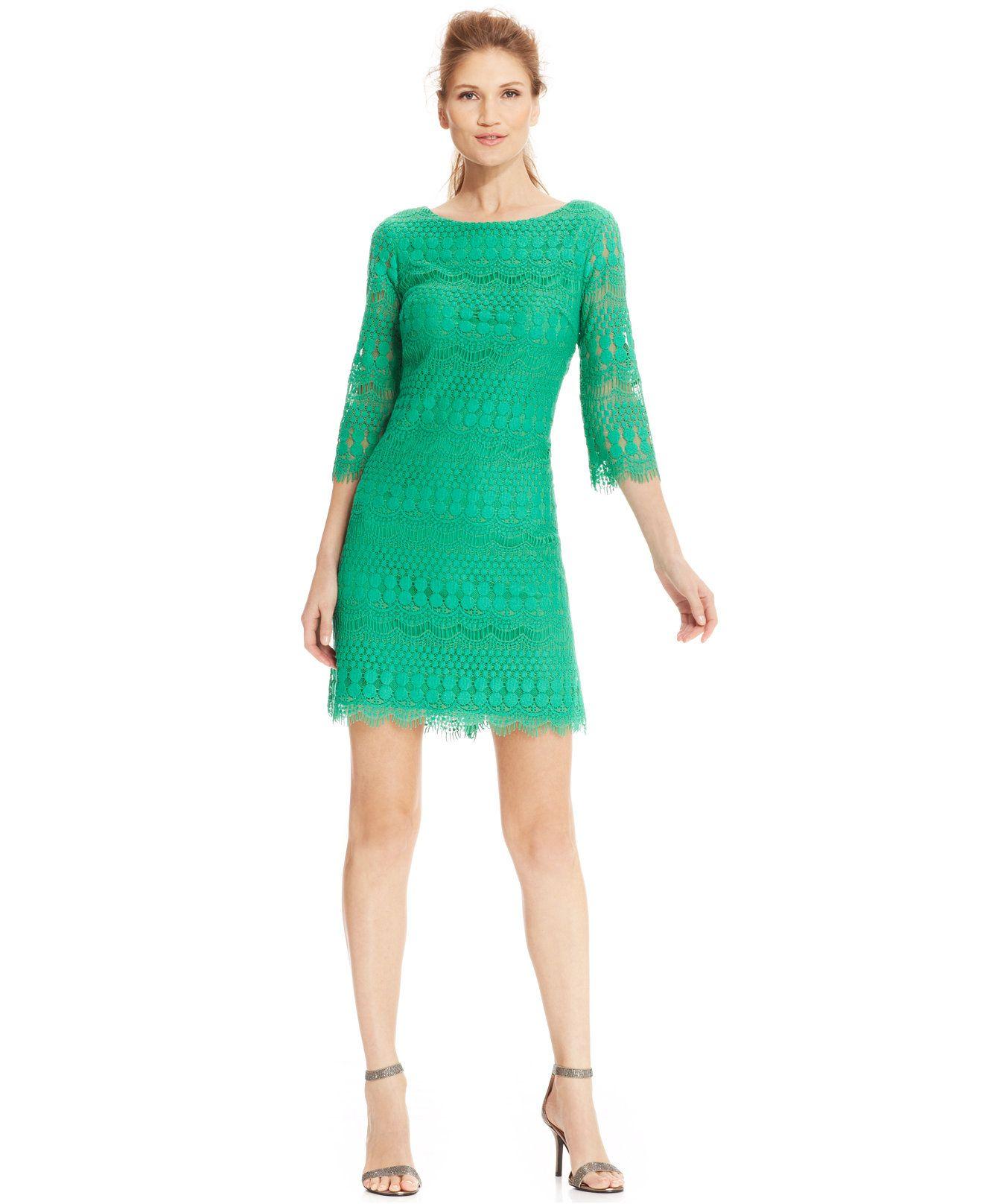 Jessica Howard Petite IllusionSleeve Crochet Lace Shift