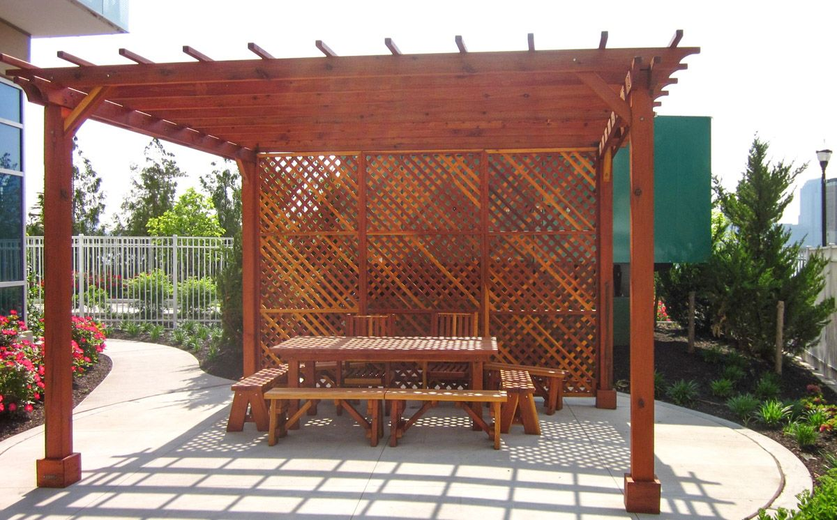 Enclosed Wooden Pergola With Horizontal Slats Enclosed