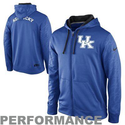 e5dde3567e64 Nike Kentucky Wildcats KO Performance Full Zip Hoodie Sweatshirt - Royal  Blue