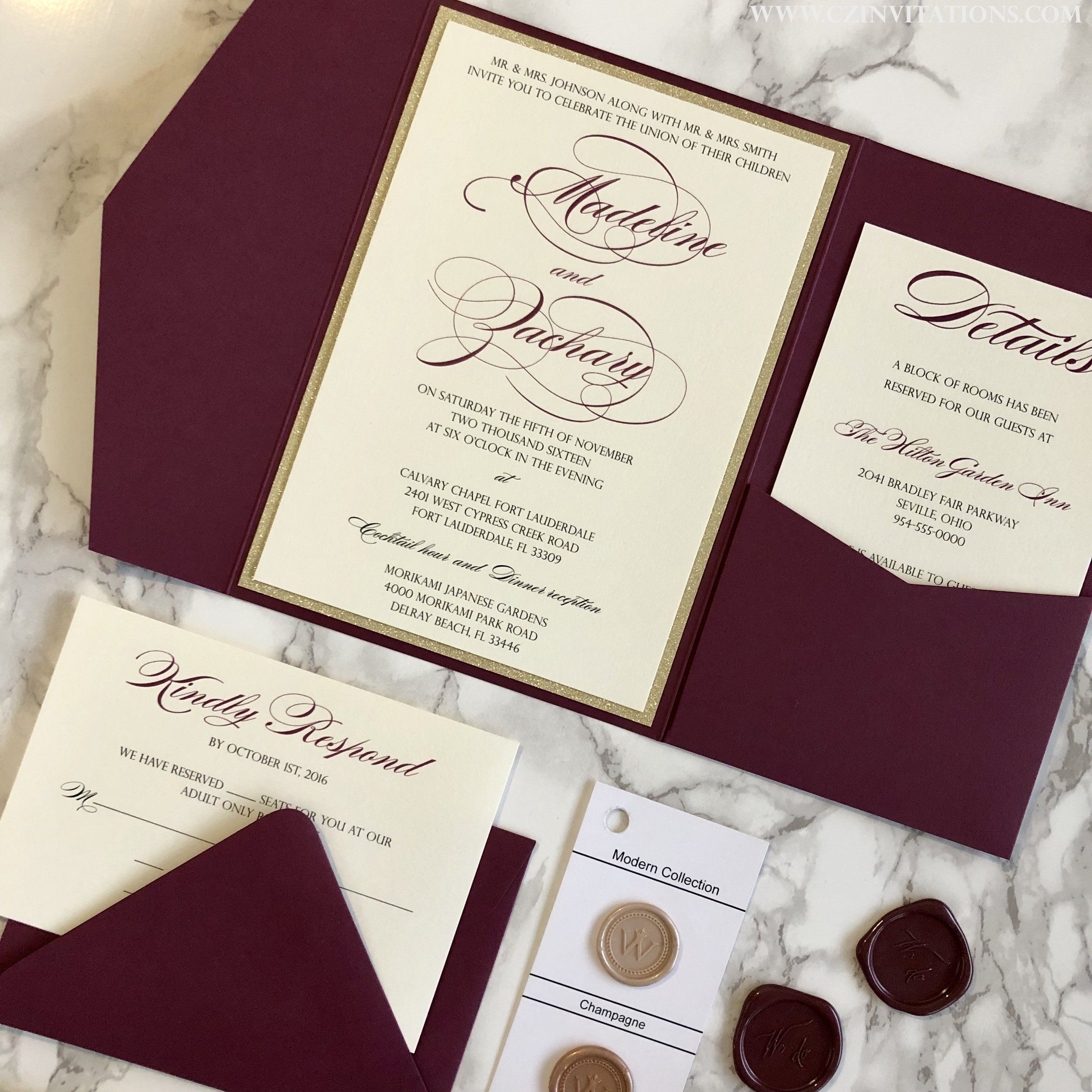 Burgundy And Gold Glitter Pocket Wedding Invitation Cz Invitations Burgundy Wedding Invitations Pocket Wedding Invitations Wedding Invitations Diy