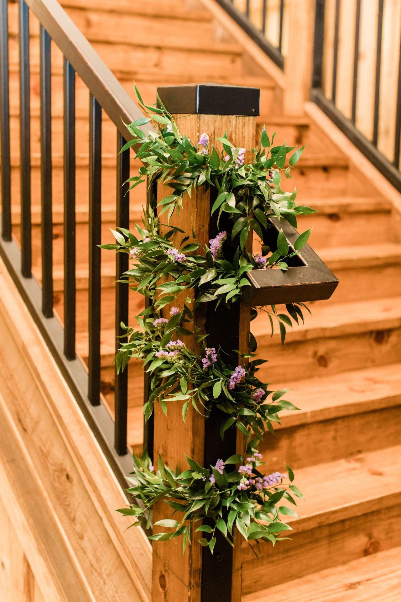 Lavender themed wedding decor  wedding staircase decor  natural wedding decorations  wedding