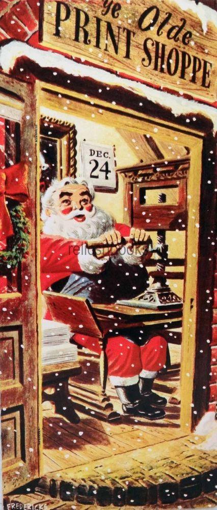 #1560 60s Santa at the Printing Press-Vintage Christmas Card-Greeting