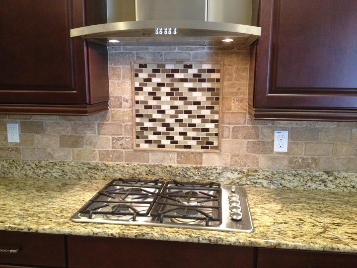 3x6 tumbled travertine backsplash w glass tile inlay behind stove rh pinterest com