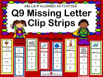 ABLLS-R  ALIGNED ACTIVITIES Q9 Missing Letter Clip Strips