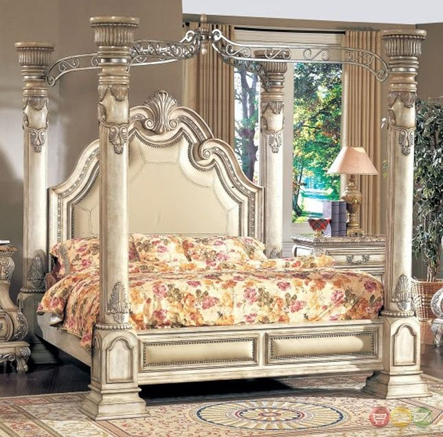 Victorian Inspired Antique White Luxury California King Poster Canopy Bed Canopy Bedroom Sets Luxurious Bedrooms Guest Bedroom Design