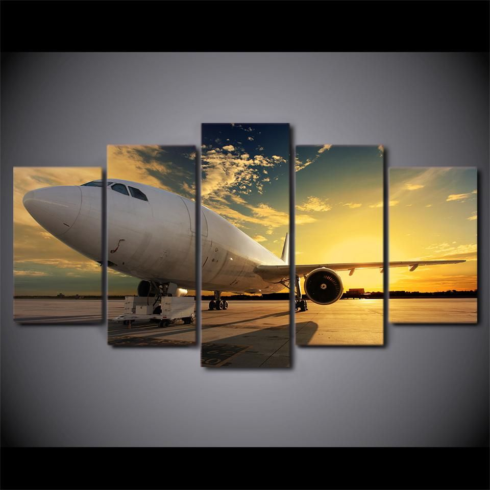Jet Art Airplane At Sunset 5 Panel Canvas Print Wall Picture For Living Room Home Decor Wall Canvas Canvas Wall Decor Canvas Wall Art