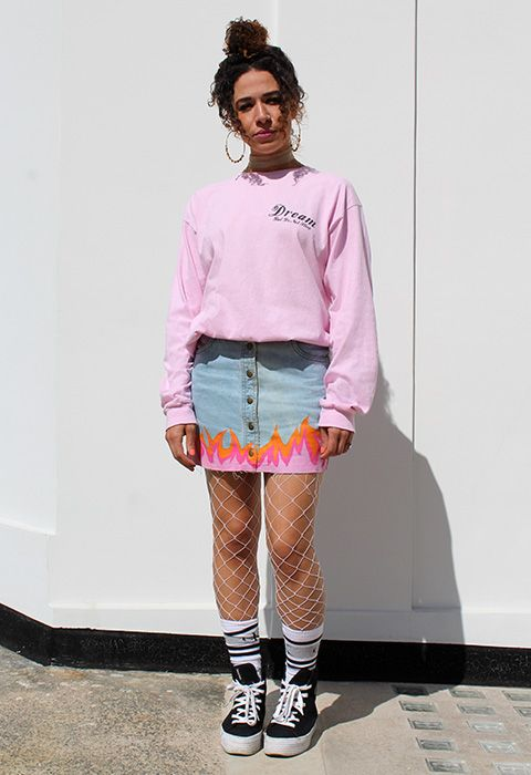623ae32a77 Charlotte Welsh ASOS Marketplace seller executive wears pink sweater, denim  mini skirt with flame detailing, fishnets and trainers | ASOS Fashion and  Beauty ...