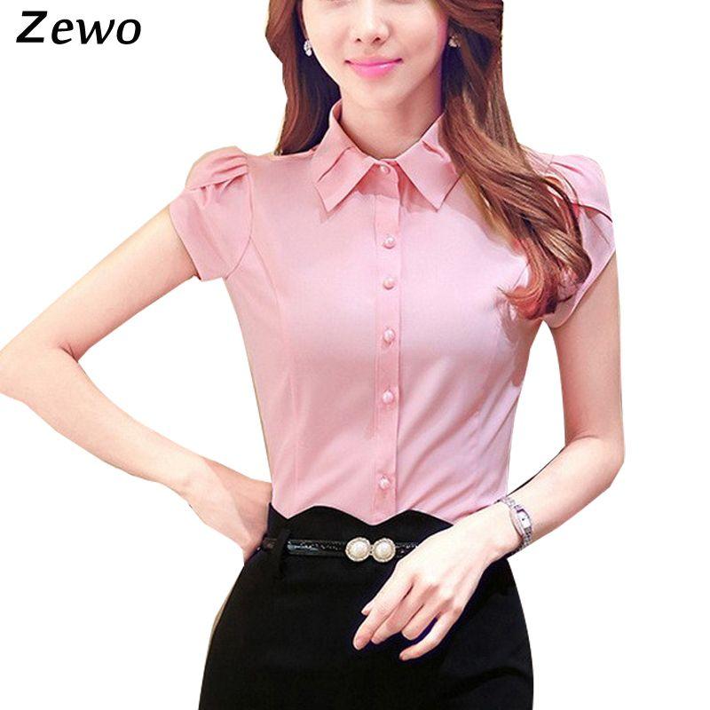 a4567aec626cd Zewo Women Blouses Summer 2016 Slim Formal Shirts Butterfly Short Sleeve  Ladies Tops Office Work Wear