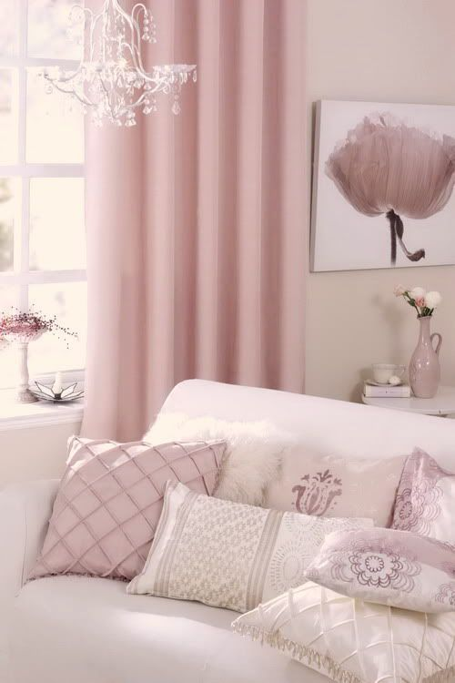 The Vintage Charm of Pink Curtains | Pink curtains, Living rooms and ...