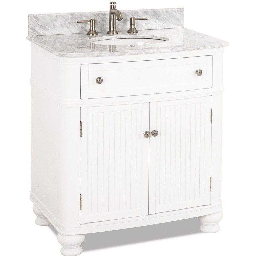 Large Bathroom Vanities 32 Bathroom Vanity With Preassembled Top And Bowl In White Elements Hardw White Vanity Bathroom White Vanity Satin Nickel Hardware [ 1000 x 1000 Pixel ]