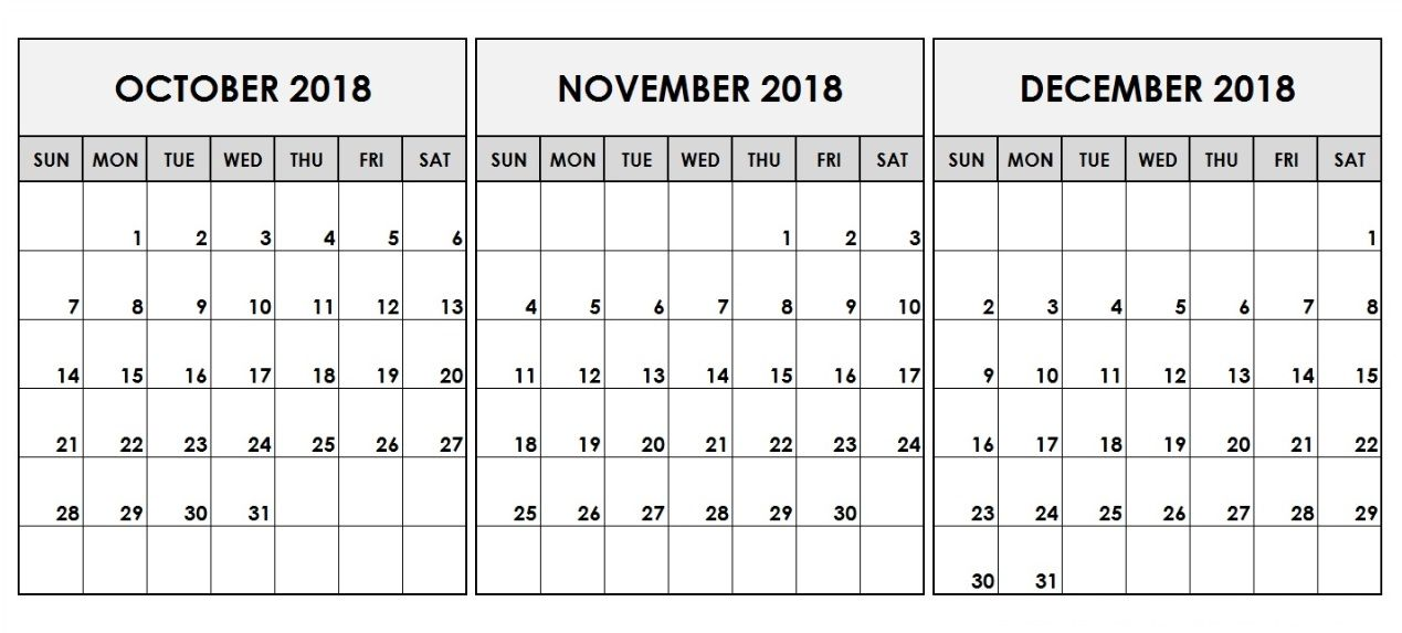 2018 Q3 Q4 Quarterly Printable Calendars November Calendar