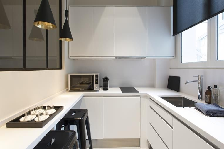 Cuisine toute quip e pour petit espace cuisine pinterest kitchens for Cuisine pour petit espace
